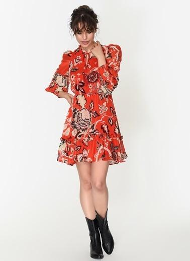 Loves You Geniş Manşet Eteği Volanlı Emprime Şifon Elbise Kırmızı